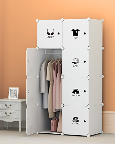 Portable Clothes Closet Wardrobe by KOUSI Freestanding Storage Organizer with doors , large space and sturdy construction. White-8 cube (Cheap Portable Closets)