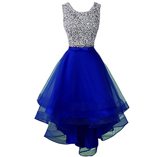 blue and silver short prom dresses - 4