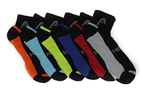 Head 6-Pack Men's Sport Quarter Socks, Black, Shoe Size 6-12