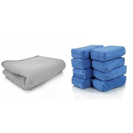 and Chemical Guys MIC/_781/_01 Waffle Weave Gray Matter Microfiber Drying Towel 25 in. x 36 in. Bundle 16 in. x 24 in. Pack of 6 Gold Chemical Guys MIC/_507/_06 Professional Grade Premium Microfiber Towel