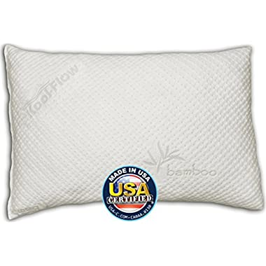 Snuggle-Pedic Bamboo Shredded Memory Foam Pillow with Kool-Flow Micro-Vented Covering - Queen Size