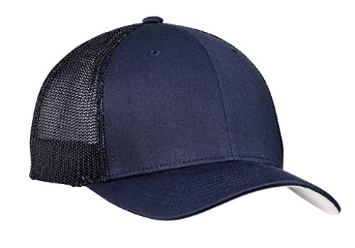 Joe's USA(tm Mesh Back Flex-Fit Trucker Style Cap-True Navy/True Navy-L/XL