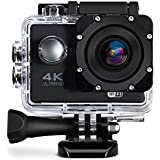 Defway Sports Action Camera 4K Ultra HD WIFI Waterproof 2 inch Screen DV Cam 170 Degree Wide Angle with 18 Accessories Kits