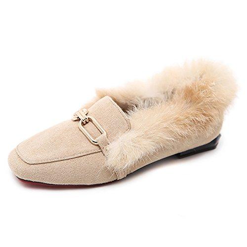 Meeshine Frauen Pelz gefüttert Loafer Slip On Schnalle Hausschuhe flache Schuhe Beige Wildleder