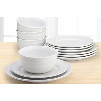Mainstay Amelia 12-Piece Solid Color Dinnerware Set (Arctic White)  sc 1 st  Amazon.com & Amazon.com | Mainstay Amelia 12-Piece Solid Color Dinnerware Set ...