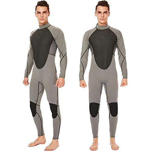 Realon Wetsuit Men Full 3mm Surfing Suit Diving Snorkeling Swimming Suit Jumpsuit (Grey, 2X-Large)