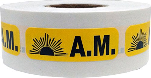 Yellow with Black AM Stickers, 0.5 x 1.5 Inches in Size, 500 Labels on a Roll by InStockLabels.com