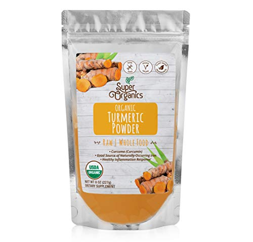 Super Organics Turmeric Root Powder | Good Source of Iron | Organic Superfood Powder | Raw Superfoods | Whole Food Supplement – Vegan, Gluten-Free & Non-GMO, 8 Ounces