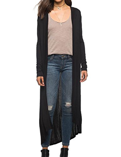 YesFashion Women's Cool Hooded Long Cardigan Thin Coat Black M (Women Korean Coats)