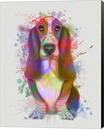 Basset Hound Rainbow Splash by Fab Funky Canvas Art Wall Picture, Museum Wrapped with Black Sides, 6 x 8 inches