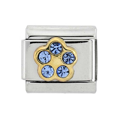Sabrina Silver Stainless Steel 18k Gold December Birthstones Charm for Italian Charm Bracelets 5 Stone