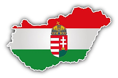 - Hungary Map Flag Coat Of Arms Vinyl Decal Bumper Sticker 5'' X 3''