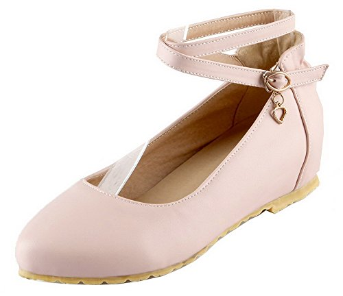 Shoes Pink PU Buckle Low Pumps Toe VogueZone009 Closed Heels Women's Solid zgwxq1RU