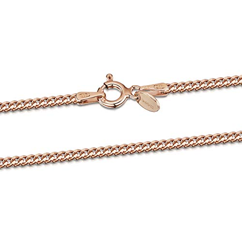 - Amberta 14K Rose Gold Plated on 925 Sterling Silver 2 mm Curb Chain Necklace Length 20