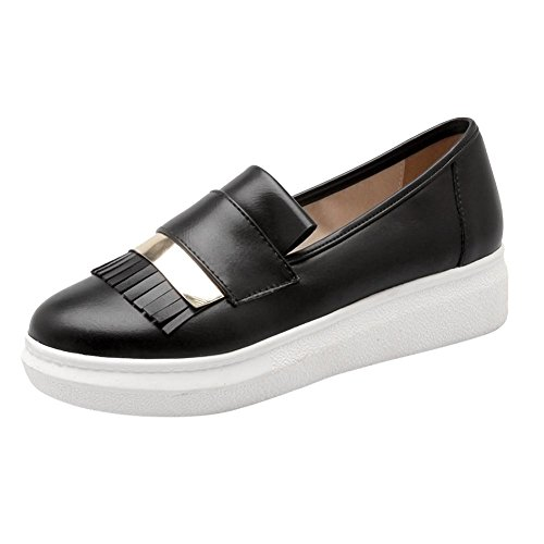 Carolbar Women's Chic Concise Platform Tassels Flat Loafer Shoes Black fydQ9Q7