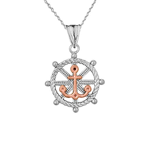 Fine Ship's Roped Helm and Anchor Charm Pendant Necklace in 14k Two-Tone White Gold, 22'' chain by Sea Life Collection