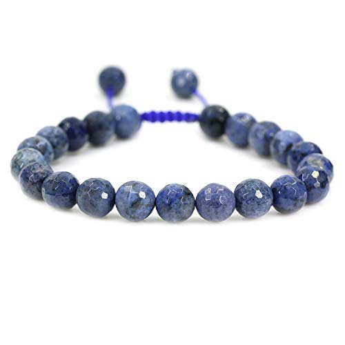 AMANDASTONES Natural A Grade Faceted Dumortierite Gemstone 8mm Round Beads Adjustable Braided Macrame Tassels Chakra Reiki Bracelets 7-9 inch Unisex