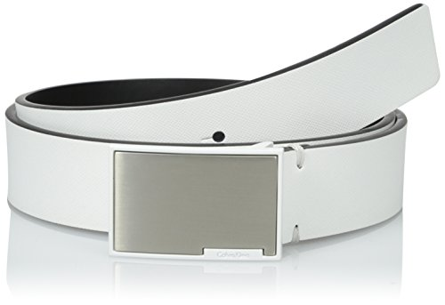 Calvin Klein Men's 35mm Flat Strap Belt with Coated Plaque Inlayed Metal Plate