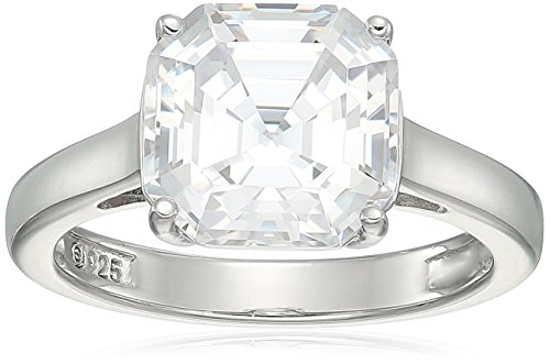 Platinum-Plated Silver Asscher-Cut (3 cttw) Solitaire Ring made with Swarovski Zirconia, Size 6