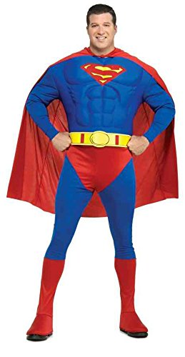 [UHC Men's Superman Marvel Deluxe Muscle Chest Superhero Fancy Costume, Plus (44-50)] (Plus Size Deluxe Superman Costumes)