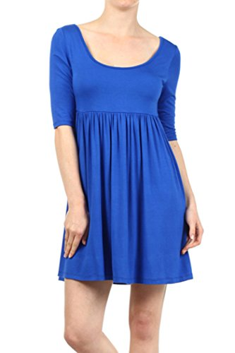 Knit Baby Doll Dress - Private Label Solid Knit Baby Doll Dress with Scoop Neck and Low Back (XL, Royal Blue)