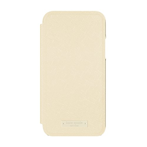 kate spade new york Folio Case for iPhone X - Saffiano Gold/Gold Logo Plate (Iphone York New)