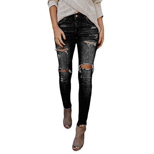 (TOPUNDER Hight Waisted Ripped Jeans Women Skinny Hole Denim Jeans Destroyed Slim Pants Black)