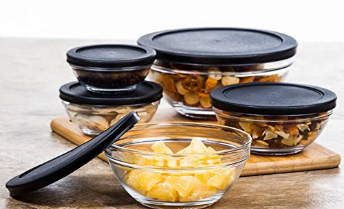 (Mikash 10 Pieces Glass Food Storage Containers Bowls Lunch Bowl Snap Tight Lids NEW | Model FDCNTNR - 565 | )