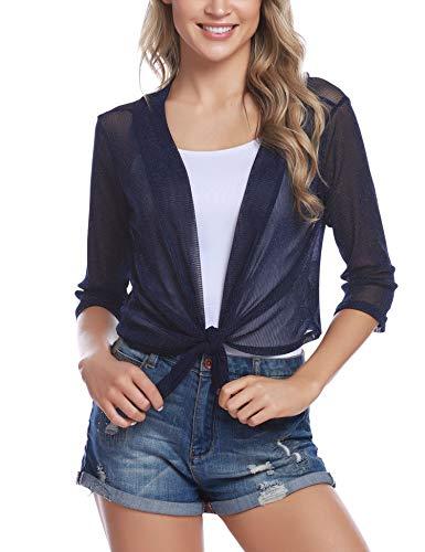 iClosam Womens Tie Front 3/4 Sleeve Sheer Shrug Cropped Bolero Cardigan (#1Navy Blue, Medium)