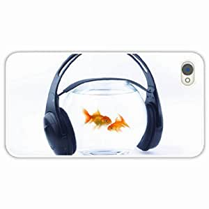 iPhone 4 4S Black Hardshell Case fish headphones aquarium background White Desin Images Protector Back Cover