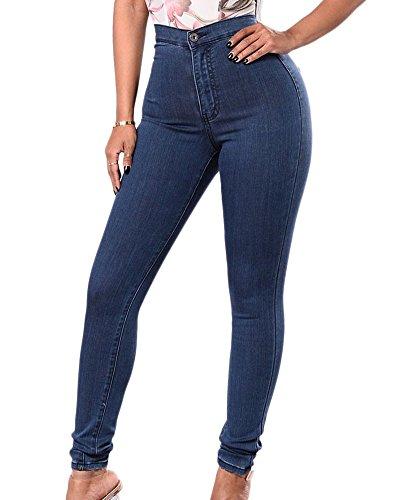 Femmes Jeans En Taille Hautes Elastique Slim Collants Pantalons Jeans Bleu Fonc