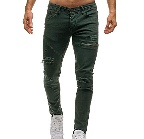 Ripped Hole Jeans Pants para Hombres, Mens Skinny Denim Stylish Zipper Decoration Jeans Ejercito Verde