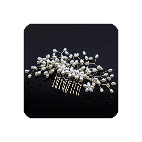 Wedding Hair Combs Bridal Ornaments Pearl Headdress Hair Accessorie Jewelry,Imitation Rhodium Plated ()