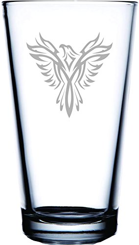 Phoenix Suns Laser - IE Laserware Phoenix Bird Laser Etched Engraved Beer Glass, 16 Ounce Pub Pint Glass