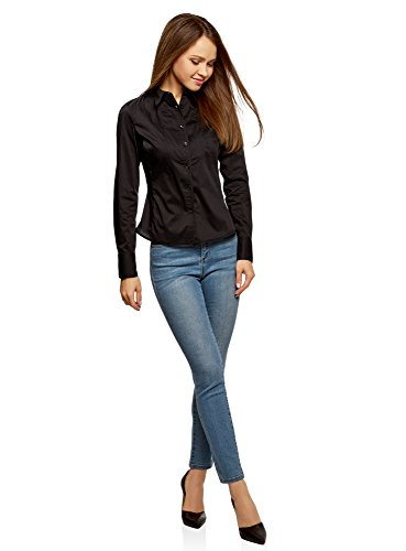 2900n Donna In Collection Oodji Camicia Nero Cotone Dickey STqHz6v