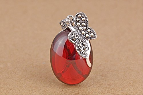 Luoyi 1pc Garnet Butterfly Pendant, Thai Silver Marcasite Jewelry Findings (C126Y)