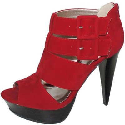 Qupid Peep Toe Cut-out Ankle Buckle and Back Zipper Ankle Booties Qufigure-58 Teal or Red