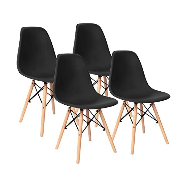 Pre Assembled Modern Style Dining Chairs Mid Century Eiffel DSW Side Chair Indoor Armless Plastic Shell Chairs for Dining Room, Kitchen, Living Room, Bedroom Set of 4