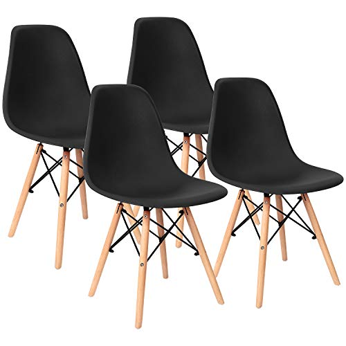 Pre Assembled Modern Style Dining Chairs Mid Century Eiffel DSW Side Chair Indoor Armless Plastic Shell Chairs for Dining Room, Kitchen, Living Room, Bedroom Set of 4 (Black) (Chairs Plastic Sale)