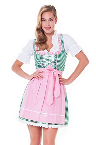 3tlg. Dirndl-Set - Trachtenkleid, Bluse, Schürze, Gr.36, grün-rosa - ALM625