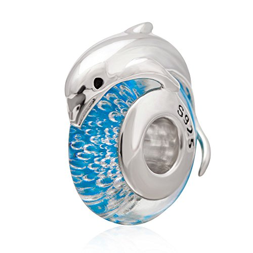 Choruslove Murano Glass Beads Authentic 925 Sterling Silver Charms Core for Women Ocean Bracelet (Dolphin Glass Charms)