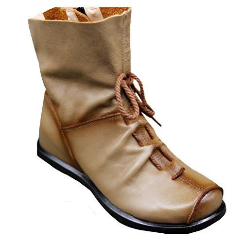 Deep Women's Boots 1 Shoes Camel Leather Handmade Fleece Flat Style Vogstyle Soft qznwx7dZ7Y