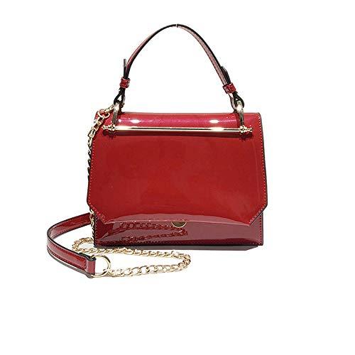 colore ed quadratino in a rosso rosso Borsa vernice retro elegante Dasexy con lucido casual tracolla semplice xOaqf7