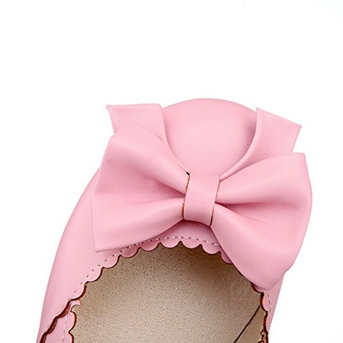 Low Toe Heels Solid Pu Women's Pink Pumps Buckle Shoes WeenFashion Closed REFpx0qWxw