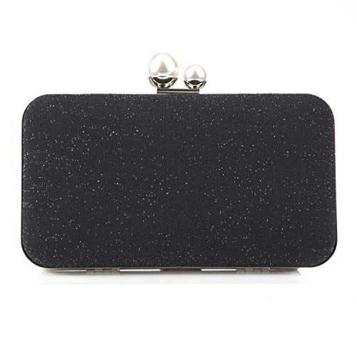 Crossbody Clutch Evening Bag for Women Formal Classic Clutch Purse Totes Black Satin Green(Black)