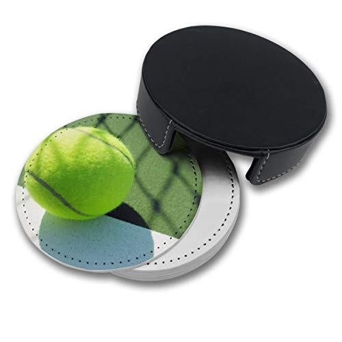 (NGFF Tennis Wallpaper Round Drinks Coasters with Holder Set of 6 PU Leather Cup Pads)