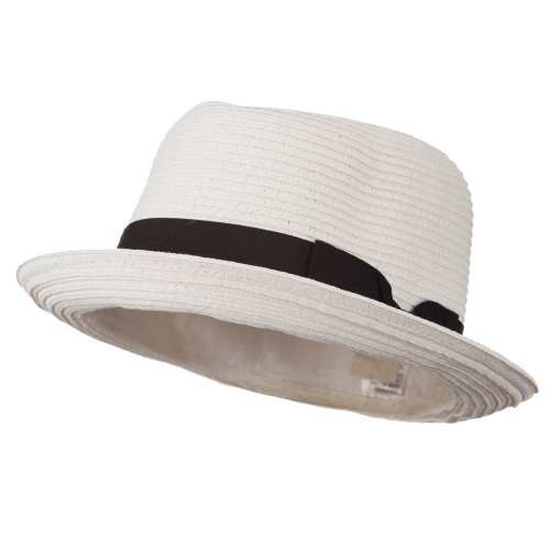 White Toyo Straw (Toyo Paper Straw Fedora Hat - White 56CM )
