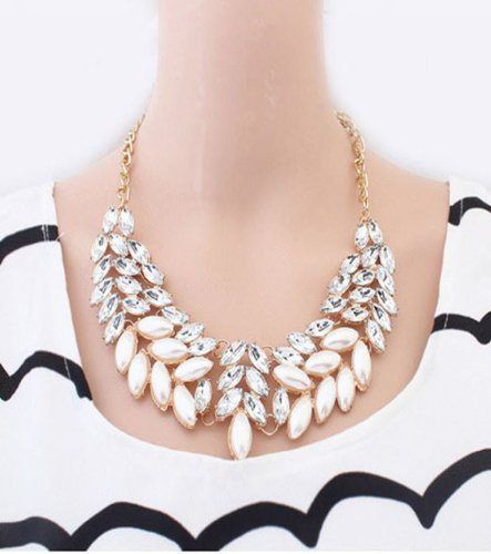 Cheap Amcctvshop 1pc Fasion Elegant Lady Pearl Rhinestone Crystal Chunky Collar Statement Necklace