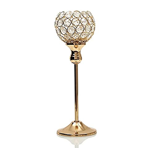 VINCIGANT Gold Crystal Candle Holder Wedding Centerpieces Pillars Candlestick for Dinning Table Home