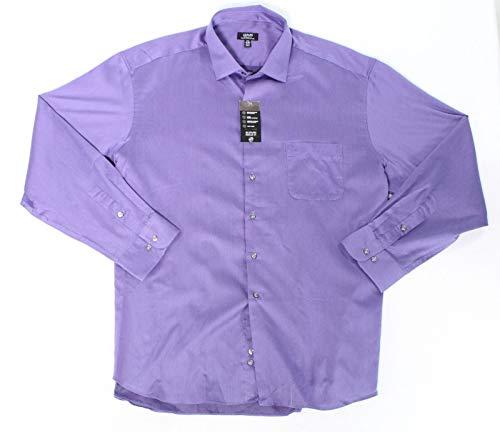 Alfani Mens Eggplant Medium 15-15 1/2 Striped Dress Shirt Purple M